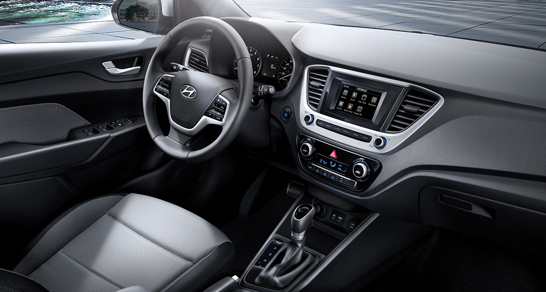 Front view of black interior